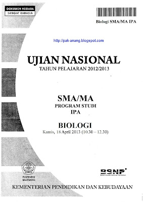 Naskah Soal UN Biologi SMA 2013 Paket 1