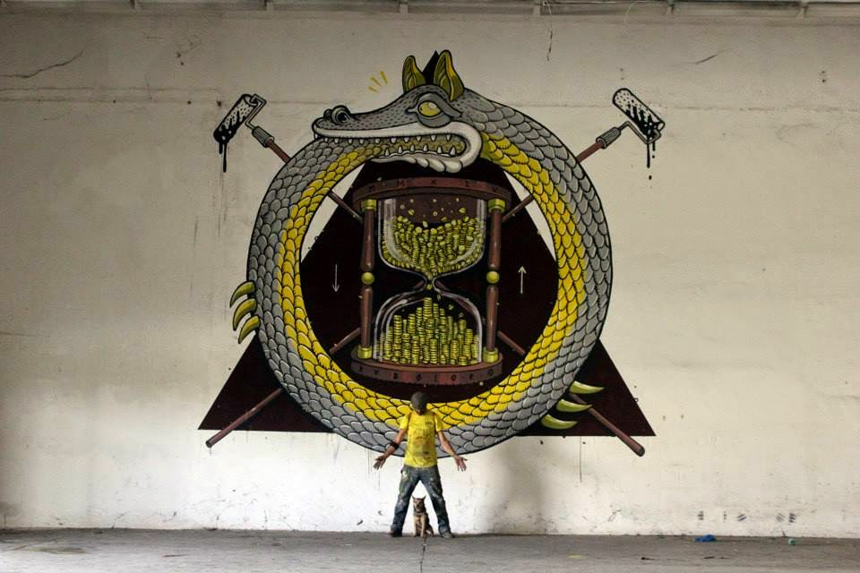 """While we last heard from him last July, Mr Thoms is back in Ferentino where he just wrapped up this new indoor piece which is entitled """"Ruboloro""""."""