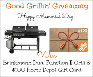 Enter to win a Brinkmann Dual Function II Grill and $100 Home Depot Gift Card. Ends June 17th.