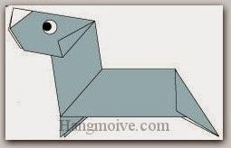 Bước 22: Vẽ mắt để hoàn thành cách xếp con chó Duchshund bằng giấy theo phong cách origami.