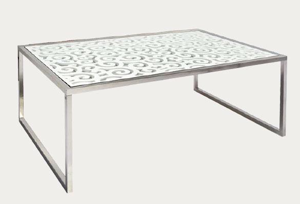 Muebles de forja mesas de centro en acero inoxidable y - Mesa centro cristal y acero ...