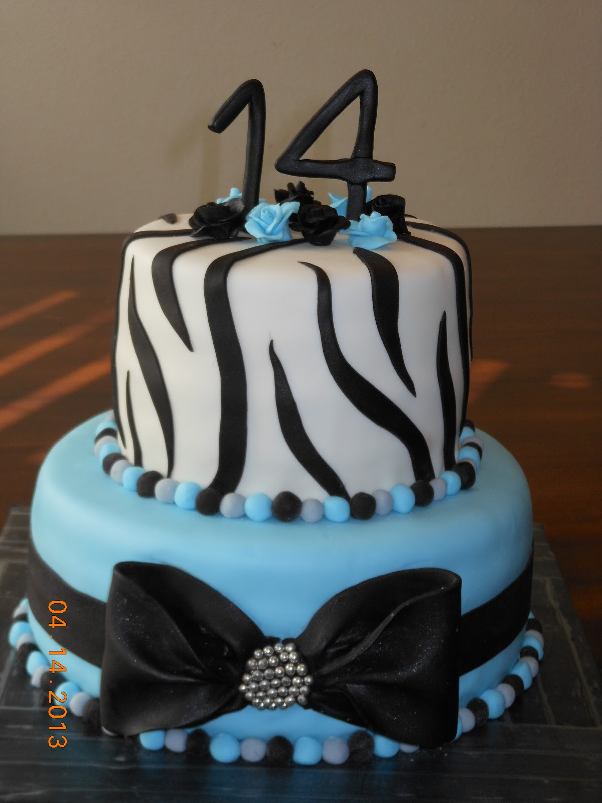 Its a piece of cake UNC Blue Zebra Stripe Birthday Cake