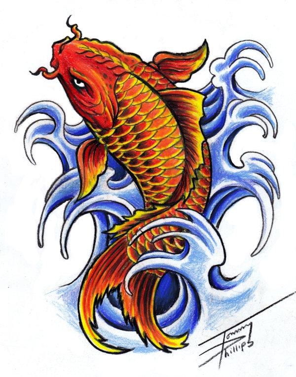 Diseño de tatuaje de Pez Koi