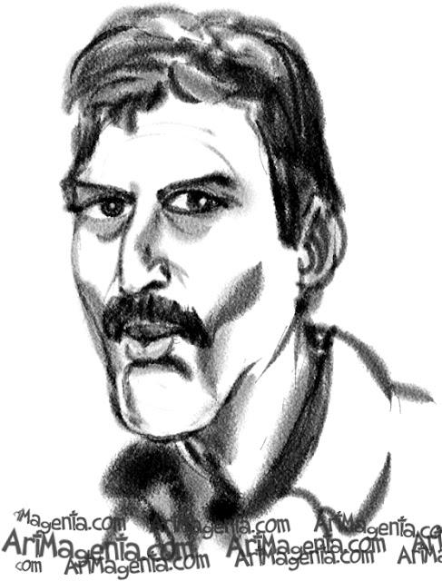 Freddie Mercury  caricature cartoon. Portrait drawing by caricaturist Artmagenta.