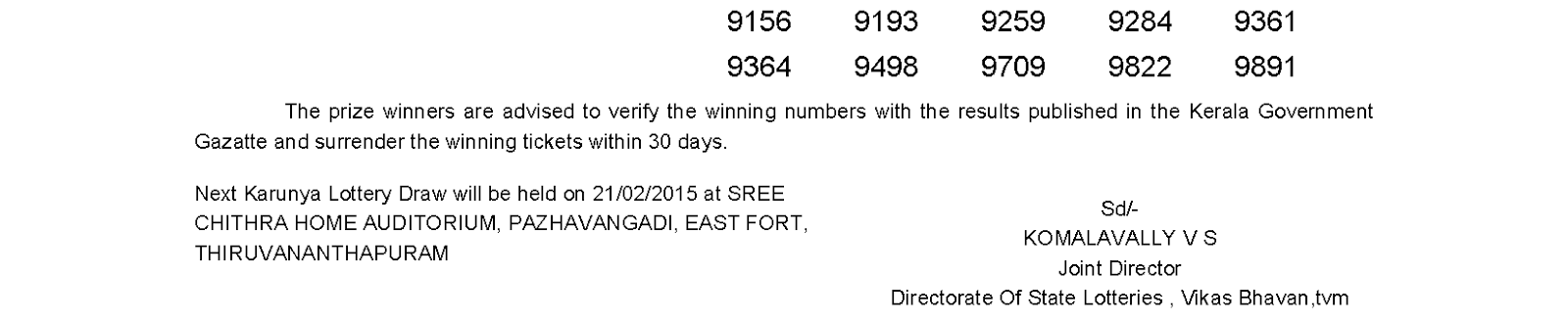 KARUNYA KR 177 Lottery Result 14-02-2015