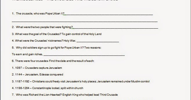 Mr Es World History Page The Middle Ages Crusades Black