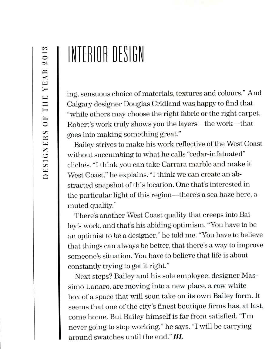 ROBERT BAILEY INTERIORS WL Designers Of The Year
