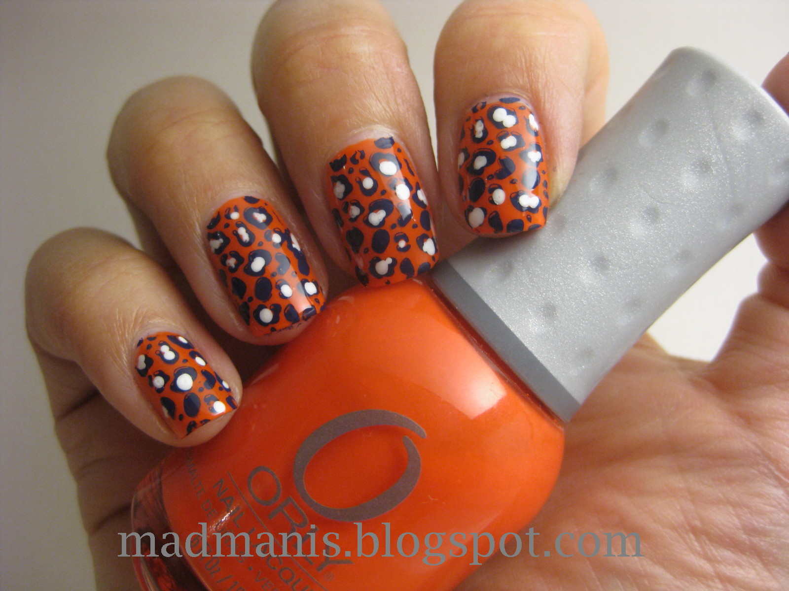 MaD Manis: Orly Orange Punch leopard