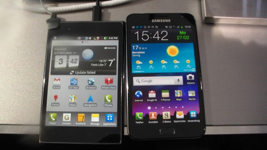 lg optimus vu vs samsung galaxy note n7000