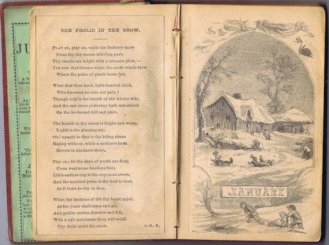 Antique Winter Sledding Illustrations from 1800's Lady's Almanac via Knick of Time