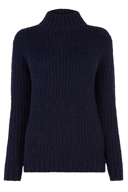 navy warehouse knitted jumper, chunky navy jumper, warehouse navy jumper,