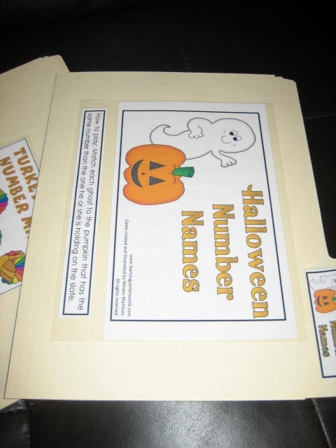 halloween number game the ghosts have the numbers written on them alphabetically you match those to the numeral on each pumpkin stem - Halloween File Folder Games