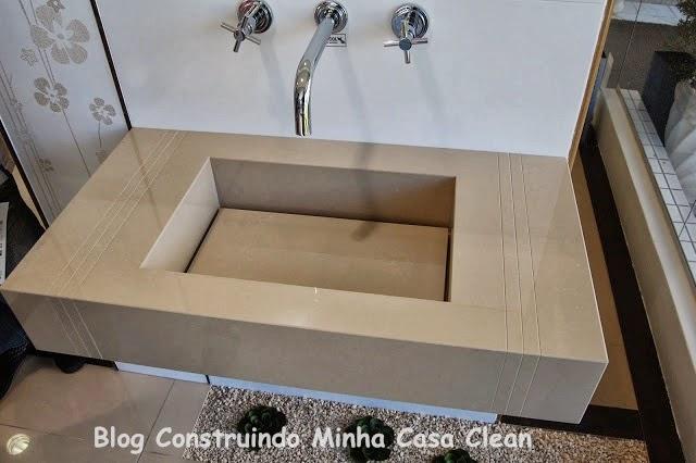 Construindo Minha Casa Clean A Beleza das Bancadas de Porcelanato! -> Pia Bancada Banheiro Porcelanato
