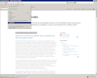 Menú Ver de Internet Explorer 8 en Windows XP, con la opción «Código fuente» resaltada