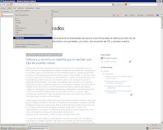 Menú Ver de Internet Explorer 8 en Windows XP, con la opción «Código fuente» resaltada