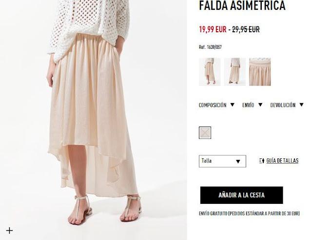 Falda asimétrica rosa Zara primavera/verano 12