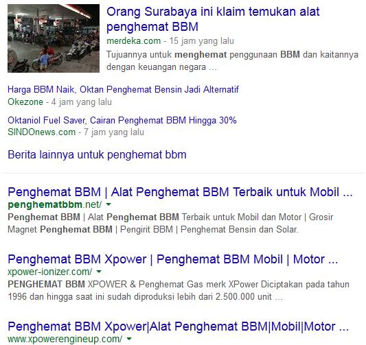 Hasil Pencarian Keyword Penghemat BBM