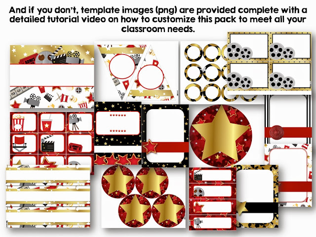 Classroom Decor Templates ~ Flapjack educational resources hollywood class decor pack
