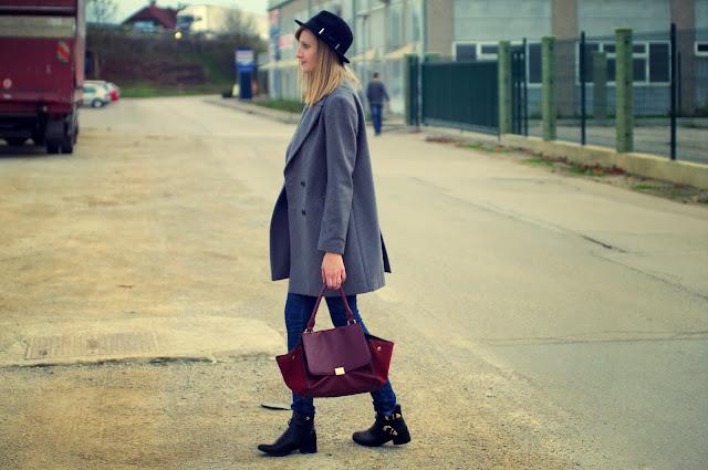 fedora hat wool hat H&M hm, oversized grey coat Zara, boyfriend coat zara, oxblood trapeze bag, celine bag lookalike, asos acid wash jeans, fashion blogger, winter trend 2013 2014