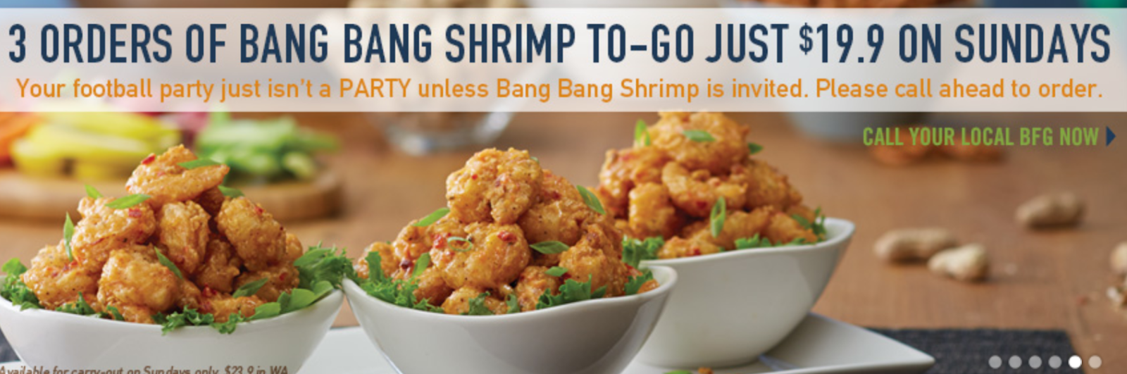 Want to know the current specials we have here at Bonefish Grill? We always having something unique, from entrees to appetizers, to choose from. Available Every Wednesday Night. $6 Bang Wednesday. Spice up the middle of your week with our signature appetizer. Bang Bang Shrimp is just $6 every Wednesday.
