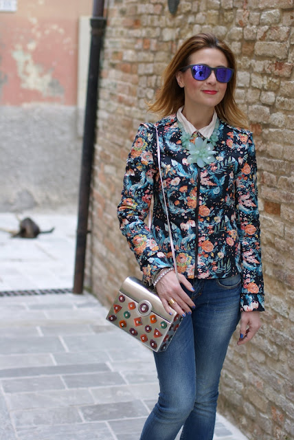 mirror sunglasses, floral jacket, silver bag, Fashion and Cookies