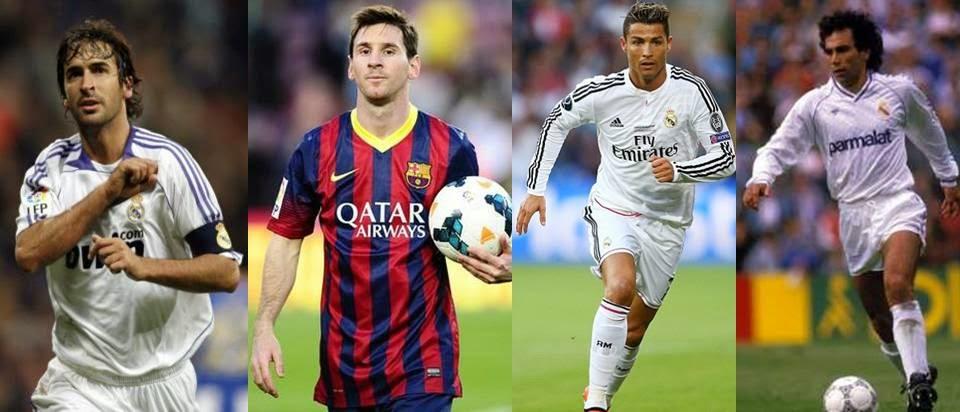 Raul Gonzales, Leonel Messi, Cristiano Ronaldo, Hugo Sanchez