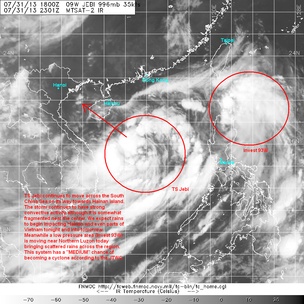 latest satellite image shows strong convective activity located on the southwest quadrant of the storm there is also some fragmented convection on the