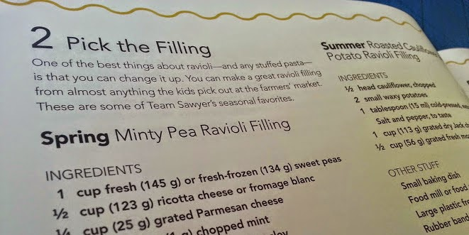 Minty Pea Raviola filling recipe Noodle Kids book