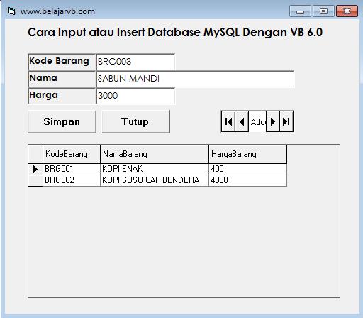 Cara Input Database MySQL Dengan VB 6.0