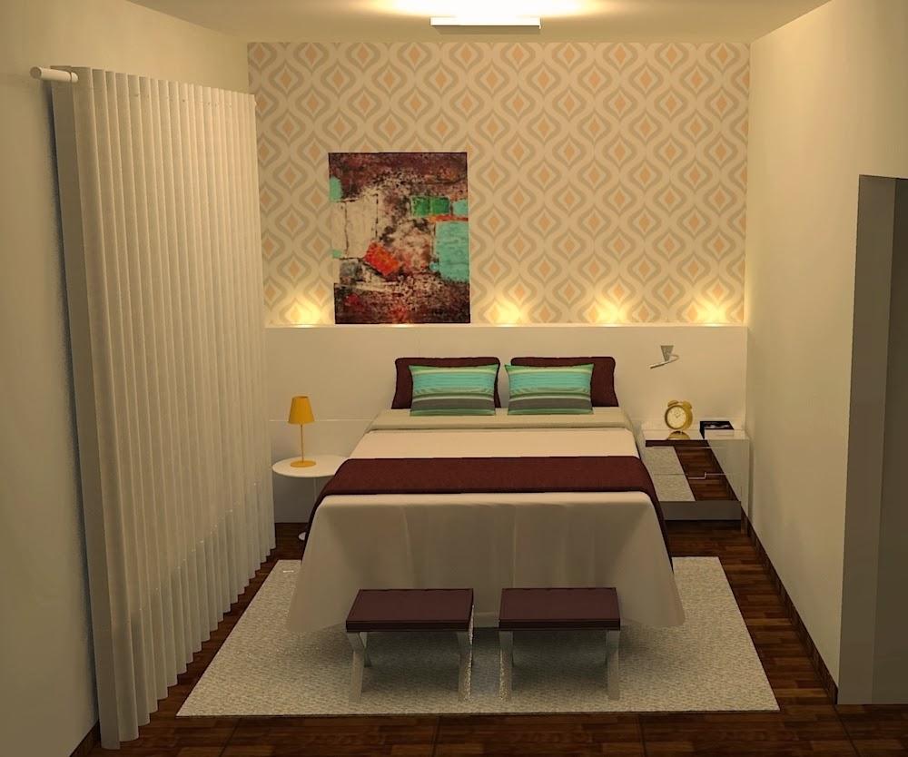 Decoração Residência Jovem Casal projética design e  ~ Quarto Pequeno Jovem