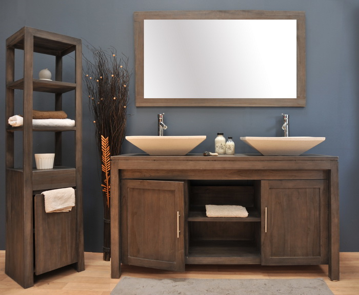 Meuble de salle de bain en teck grey meubles de salle de for Meuble a miroir salle de bain