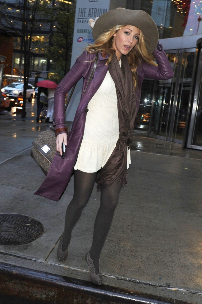 Blake Lively In New York, Wearing A Plum Burberry Prorsum Trench Coat