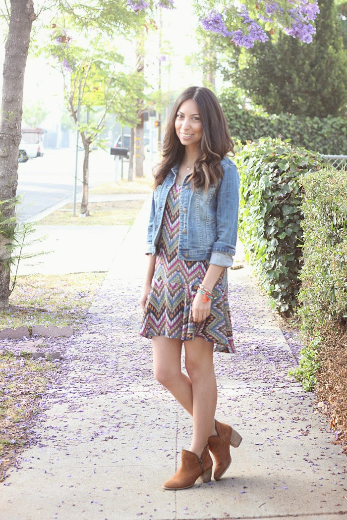 jean jacket, printed dress, booties