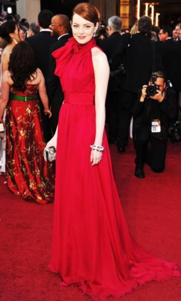 Emma stone at the 84th academy awards a red dress by giambattista