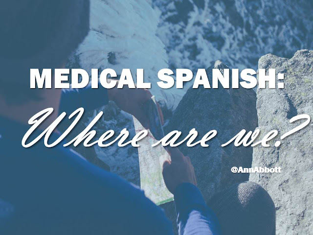 Image of mountain climber looking down the mountain with a map in his hands and the text overlay says Medical Spanish Where are we?