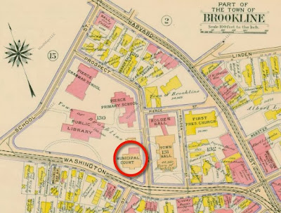 1913 map showing Courthouse and Police Station
