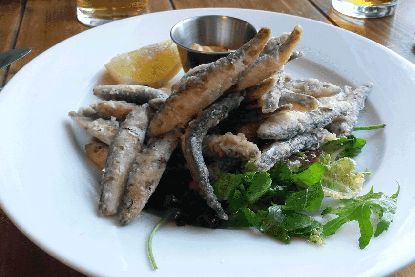 Whitebait with smoked paprika mayo.