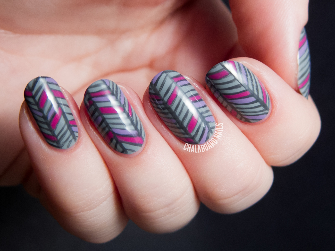 Grey Herringbone Nail Art Chalkboard Nails Nail Art Blog