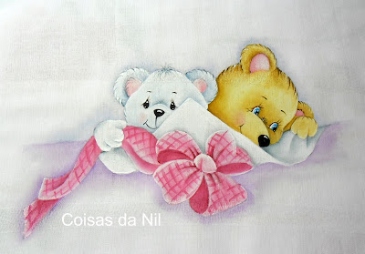 """""""fralda pintada com ursinhas e laço rosa"""""""