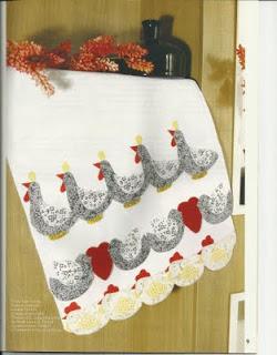 pano-de-prato - patchapliqué - galinha - PAP (diy) com molde
