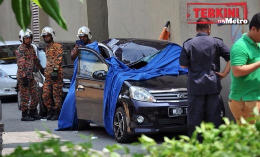 Pemandu kereta maut dalam kereta apabila dihempap seorang lelaki jatuh dari bangunan hotel