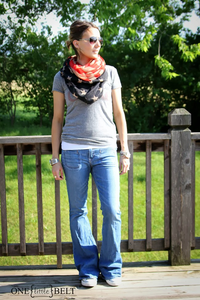 Flag scarf, vintage tee, and Converse