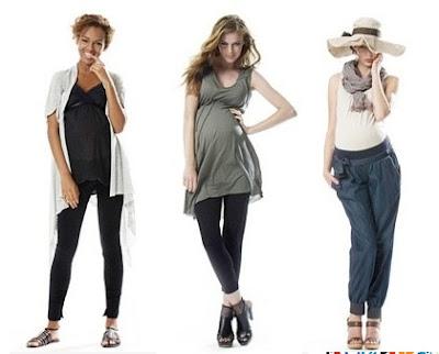 moda embarazadas con calzas 3 chicas