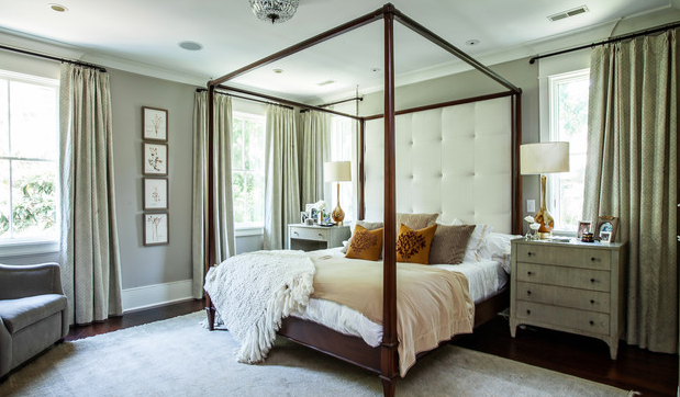 bedroom drapes that blend with the wall color create a soothing tone on tone look