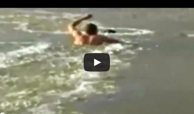Joven nada sobre río congelado para rescatar a su perro