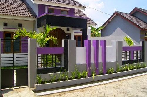 desain warna cat pagar rumah ungu