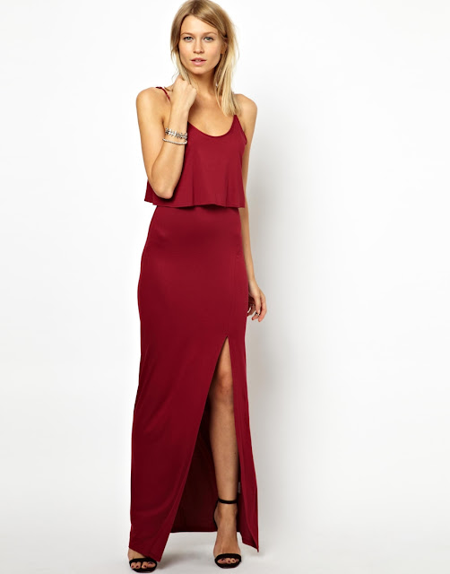 red maxi dress with split