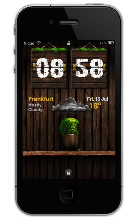 Wooden HTC Clock LS Theme for iPhone 4