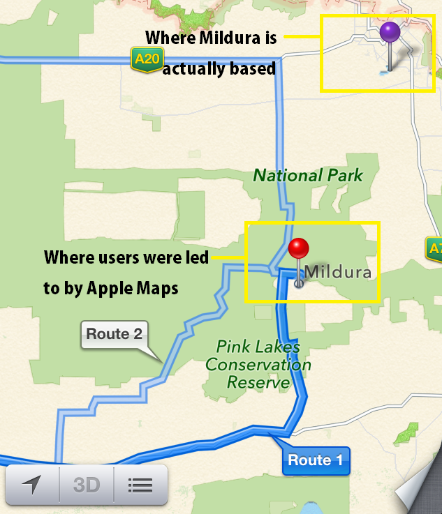 Apple Maps Mildura Problem
