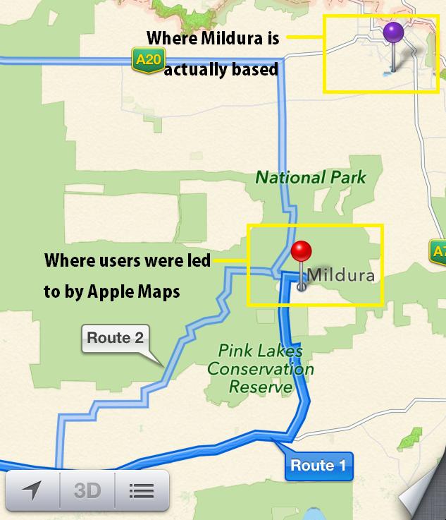 Apple Maps Mildura Problem